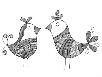 Mandala Drawing - Bird Love Birds by Neeti Goswami