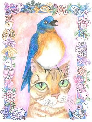 Bird On A Cat's Head Print by Cherie Sexsmith