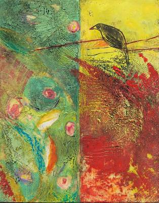 Encaustic Painting - Bird On A Wire by Barbara Hranilovich