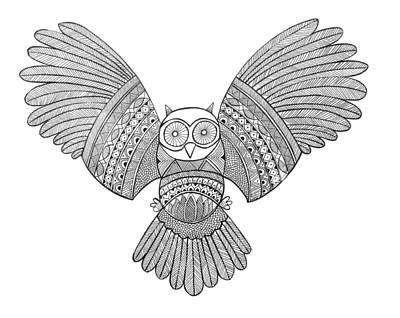 Mandala Drawing - Bird Owl 3 by Neeti Goswami