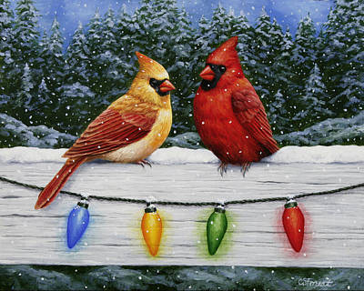 Birds Painting - Bird Painting - Christmas Cardinals by Crista Forest
