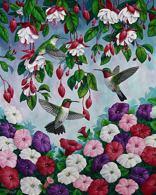 Bird Painting - Hummingbird Heaven Print by Crista Forest