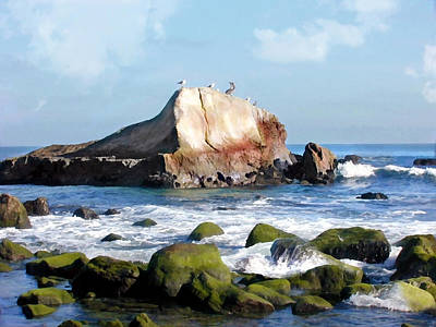 Sand Dunes Painting - Bird Sentry Rock At Dana Point Harbor by Elaine Plesser