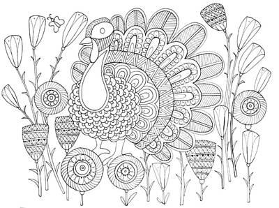 Thanksgiving Drawing - Bird Turkey Bird 1 by Neeti Goswami