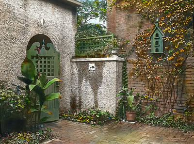 Realistic Photograph - Birdhouse And Gate by Terry Reynoldson