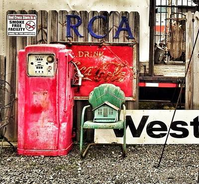 Coca-cols Signs Photograph - Birdhouse On A Chair By A Gas Pump by Patricia Greer