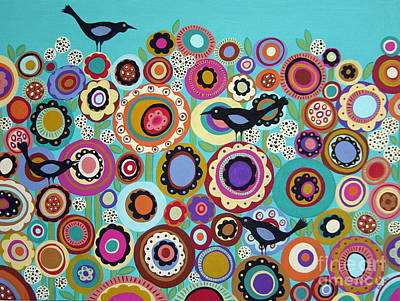 Whimsical. Painting - Birds And Blooms by Karla Gerard