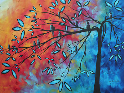 Birds And Blossoms By Madart Print by Megan Duncanson