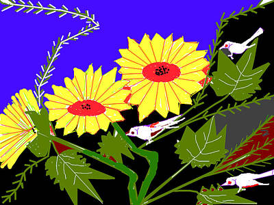 Birds And Leaves Print by Anand Swaroop Manchiraju