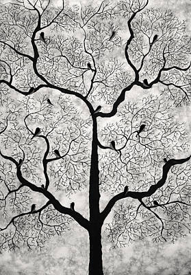 Black And White Mixed Media - Birds And Trees by Sumit Mehndiratta