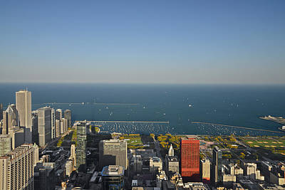 Bird's Eye View Of Chicago's Lakefront Print by Christine Till