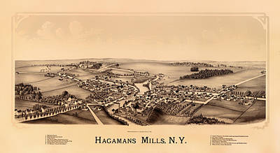 Creek Drawing - Bird's-eye View Of Hagamans Mills New York 1890 by Mountain Dreams