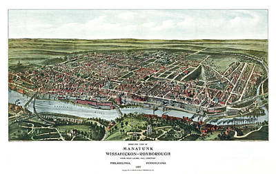 Pennsylvania Drawing - Birds Eye View Of Manayunk - Philadelphia - Pennsylvania - 1907 by Pablo Romero