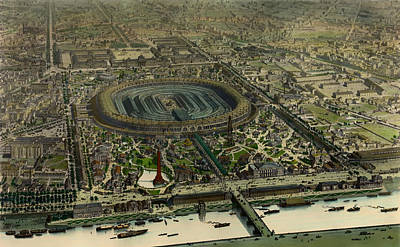Stadiums Drawing - Bird's-eye View Of Paris Exposition Universell 1867 by Mountain Dreams