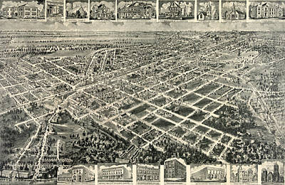 Birds Eye View Of Rocky Mount, North Carolina 1907 Print by Litz Collection