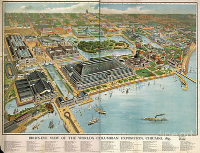 Birds Eye View Photograph - Bird's Eye View Of The World's Columbian Exposition Chicago 1893 by Edward Fielding