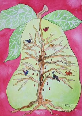 Cardinals In Watercolor Painting - Birds In A Pear Tree  by Ellen Levinson