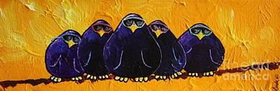 Limbbirds Painting - Birds In Black by LimbBirds Whimsical Birds