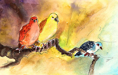 Canary Drawing - Birds In Gran Canaria 02 by Miki De Goodaboom