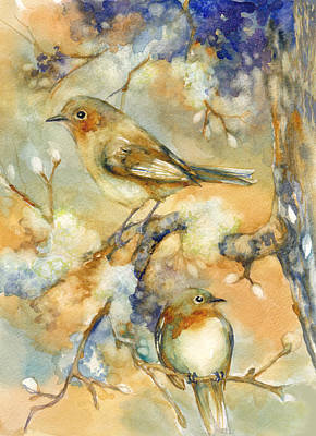 Finch Mixed Media - Birds In Mossy Branches by Peggy Wilson