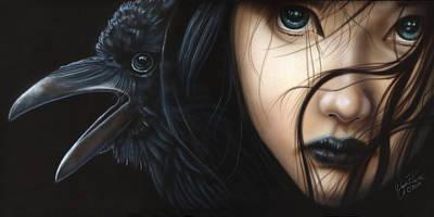 Birds Of Prey- Raven Print by Wayne Pruse