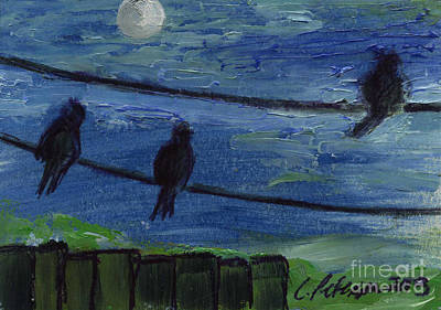 Birds On A Wire Series.  Black Birds Singing To The Moon.  Original by Cathy Peterson