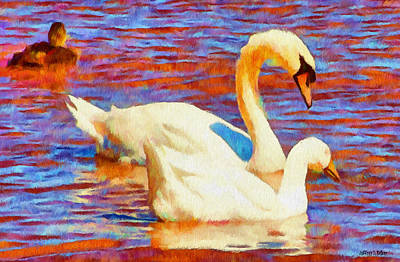 Swan Digital Art - Birds On The Lake by Jeff Kolker