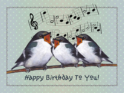Swallow Mixed Media - Birds Singing Birthday Card by Joyce Geleynse