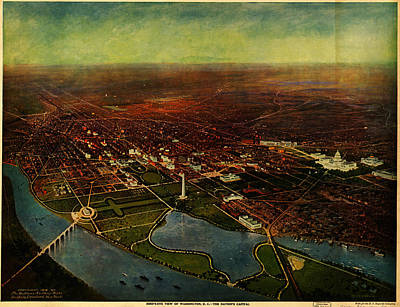 Washington D.c Painting - Birdseye View Of Washington 1916 by Celestial Images