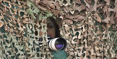 Net Photograph - Birdwatcher's Camoflaged Hide by Photostock-israel