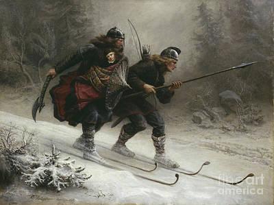 Birkebeinerne The Kings Soldiers Print by Knud Bergslien