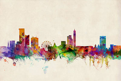 England Digital Art - Birmingham England Skyline by Michael Tompsett