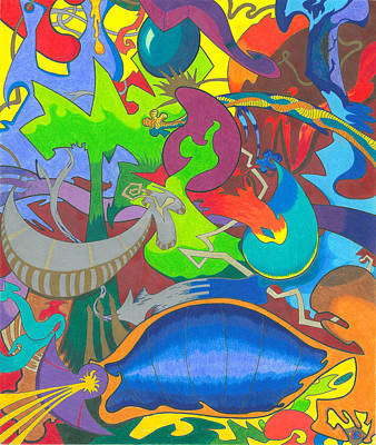 Abstract Shapes Drawing - Birth Of The Universe by Akinlana Lowman