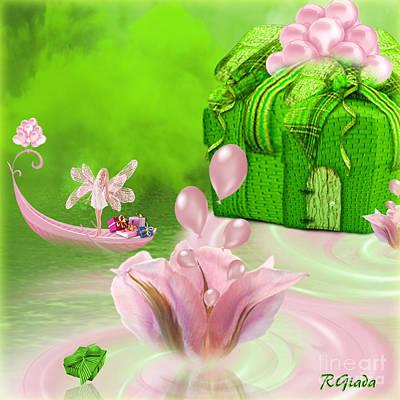 Flower Pink Fairy Child Digital Art - Birthday Fairy Goes To Work - Fantasy Art By Giada Rossi by Giada Rossi