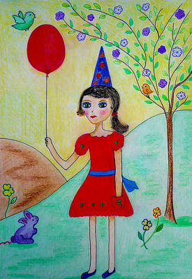 Lilac Drawing - Birthday In The Park by Jo Ann