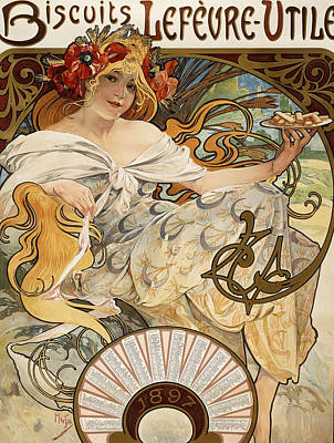 Biscuits Lefevre-utile Print by Alphonse Marie Mucha