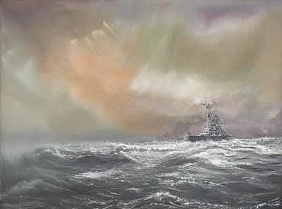 Bismarck Signals Prinz Eugen  Print by Vincent Alexander Booth