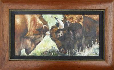 Portrait Painting - Bison Brawl Framed by Lori Brackett