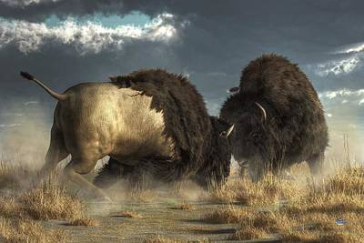 Bison Digital Art - Bison Fight by Daniel Eskridge