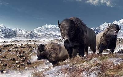 Snowy Digital Art - Bison Herd In Winter by Daniel Eskridge