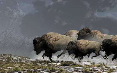 Western Themed Digital Art - Bison Stampede by Daniel Eskridge