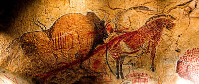 Chauvet Cave Photograph - Bisons Horses And Other Animals Closer by Weston Westmoreland