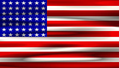 Bits And Bytes U. S. Flag Print by Daniel Hagerman