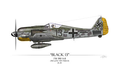 Airplane Painting - Black 13 Focke-wulf Fw 190 - White Background by Craig Tinder