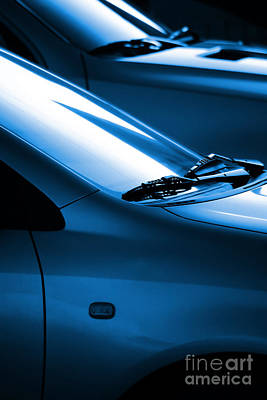 Black And Blue Cars Print by Carlos Caetano
