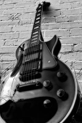 Epiphone Guitar Photograph - Black And Blues by Allen Gresham