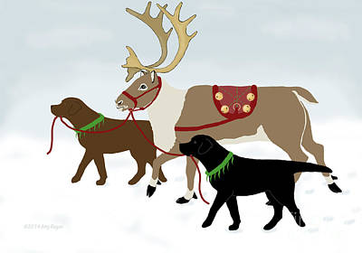 Black And Chocolate Labs Lead Reindeer Print by Amy Reges