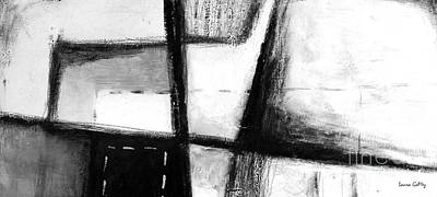 Negro Mixed Media - Black And White Abstract Contemporary Minimal Art By Laura Gomez - Large Panoramic Format by Laura  Gomez