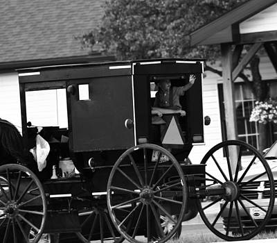 Black And White Amish Buggy Print by Dan Sproul