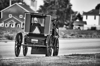 Amish Photograph - Black And White Amish Buggy by David Arment